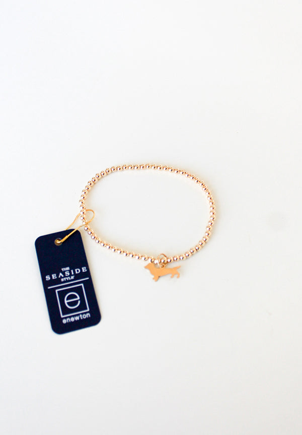Classic 3mm Gold Bracelet with Bud charm