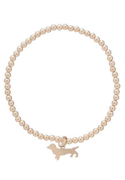 Classic 3mm Gold Bud the Dachshund Seaside Bracelet