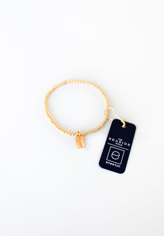 Classic 3mm Gold Bracelet with Seaside Tag