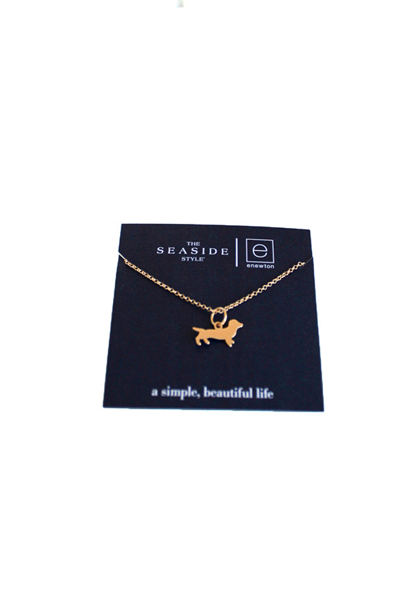 Gold filled Bud The Dachshund Necklace