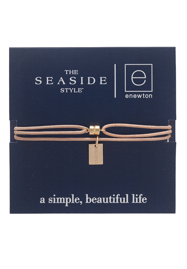 Seaside tag Leather Necklace