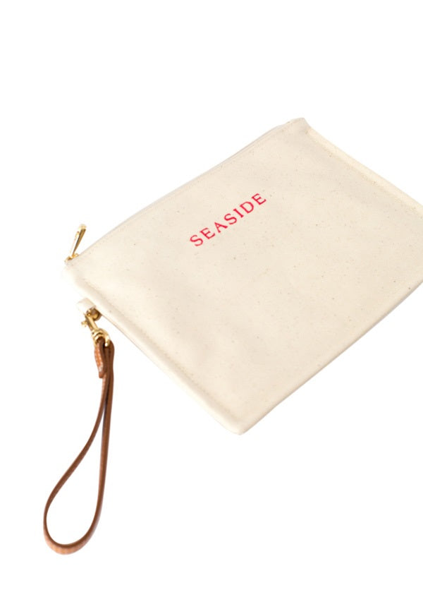 Pink Embroidered Coated Canvas Pouch