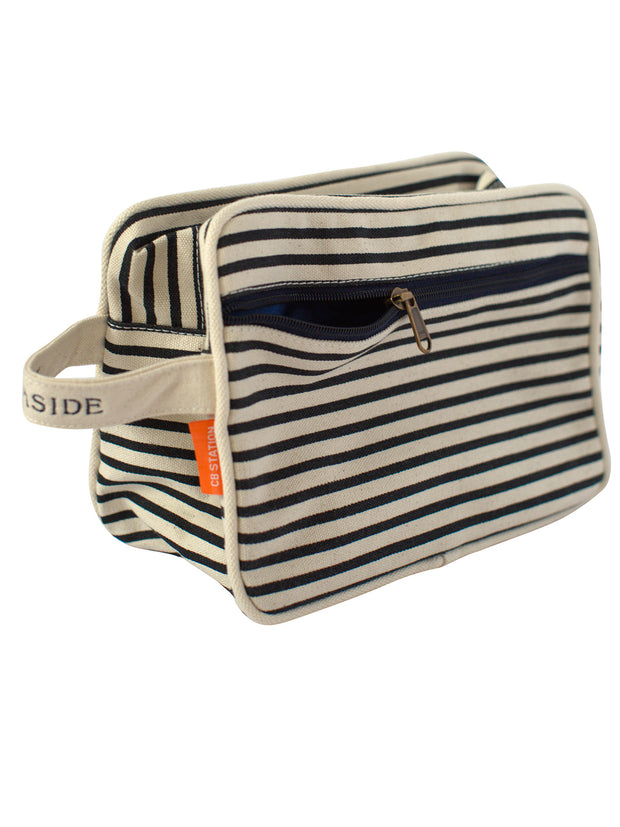 Lined Navy Stripe Travel Kit