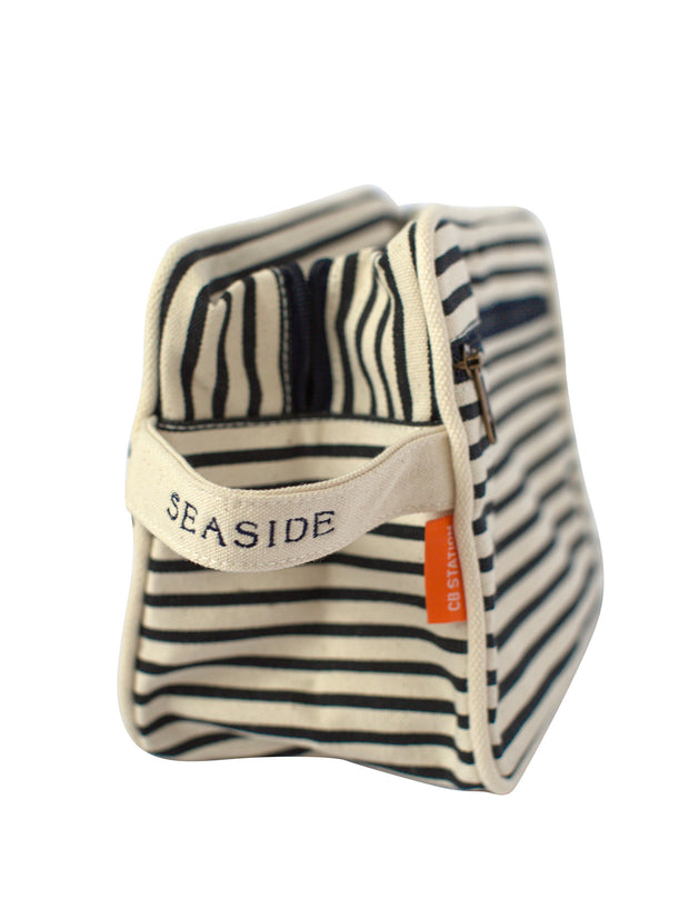 Lined Seaside Navy Stripe Travel Kit