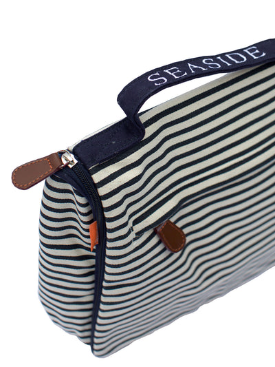 Hanging White and Navy Stripped Seaside Travel Kit