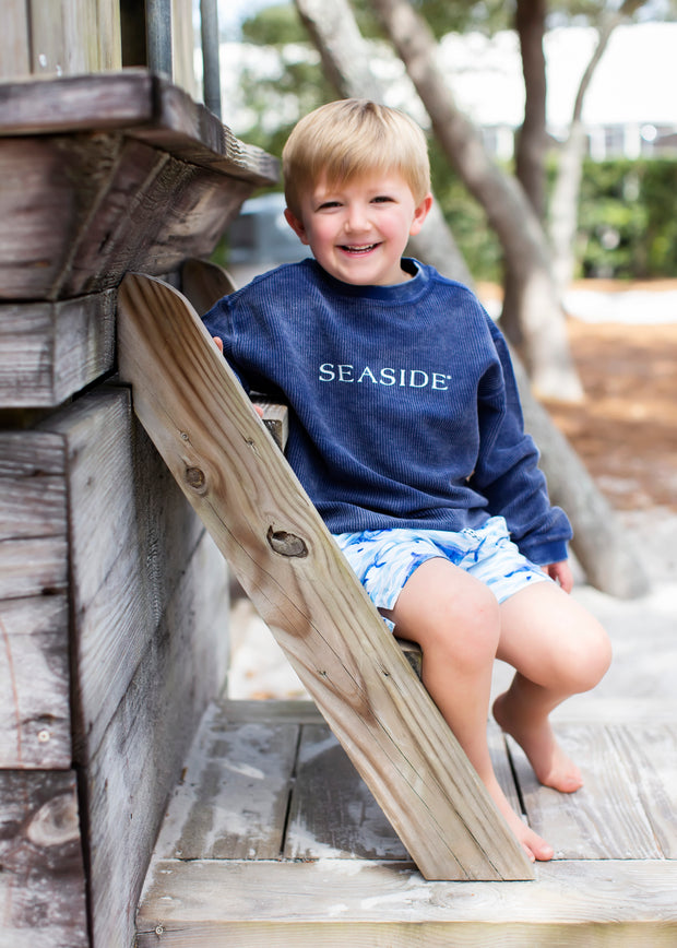 Youth Navy Ribbed Sweatshirt