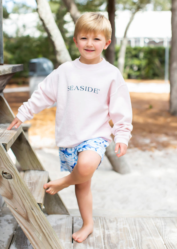 Youth Pink Ribbed Sweatshirt