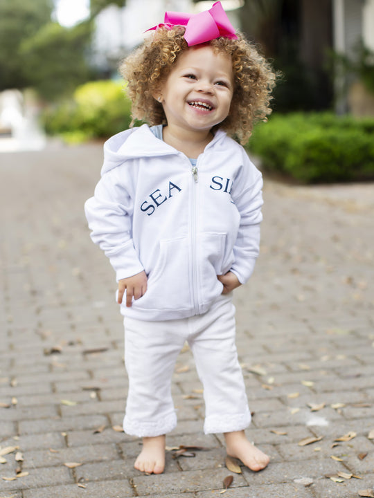 WHITE SEASIDE TODDLER ZIP HOOD