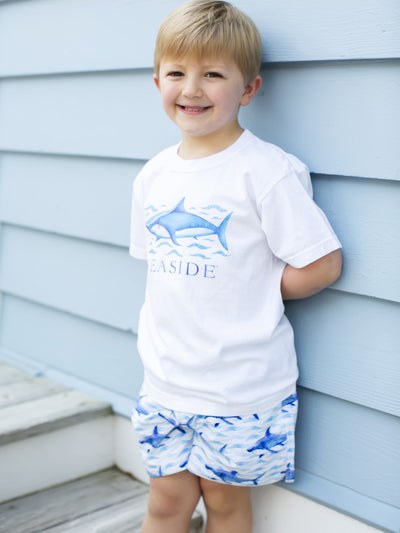 Youth Blue Waves Shark Tee