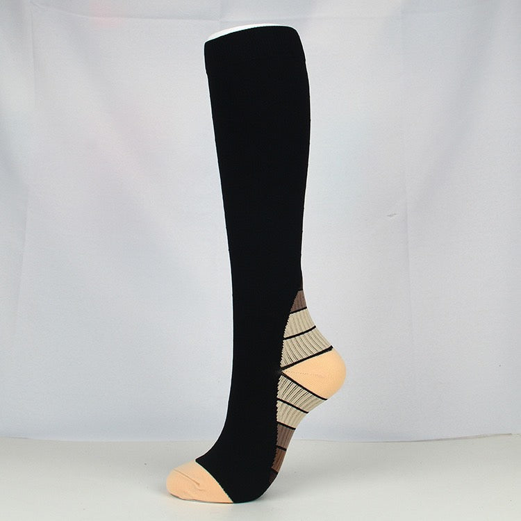 Tan|Black Compression Socks