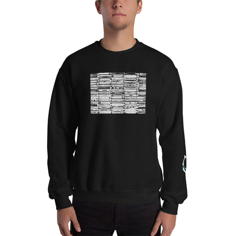 Unisex Sweatshirt 'Vintage Cassette Tapes' White Front Print Design With White And Blue Left Sleeve Logo