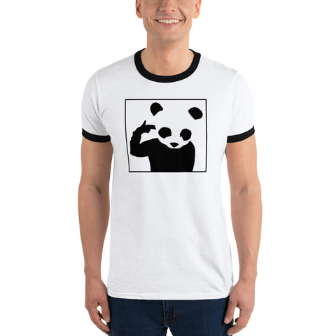 Ringer T-Shirt 'Bad Panda' Black Front Print Design