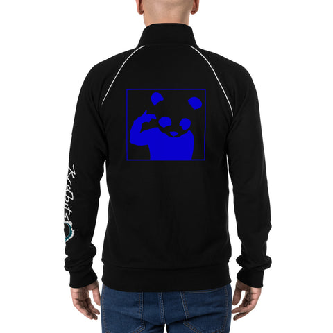 Piped Fleece Jacket 'Bad Panda' Blue Back Print Design With White And Blue Left Sleeve Logo