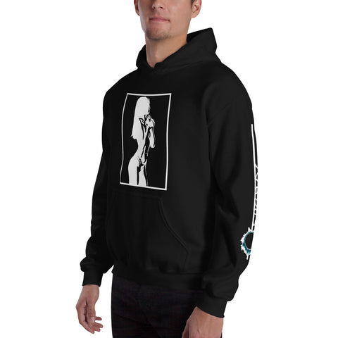 Unisex Hoodie 'Sexy Vixen' White Front Print Design With White And Blue Left Sleeve Logo