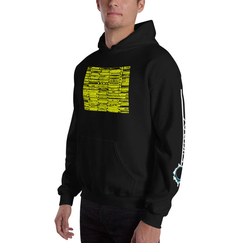 Unisex Hoodie 'Vintage Cassette Tapes' Yellow Front Print Design With White And Blue Left Sleeve Logo