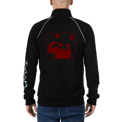 Piped Fleece Jacket 'Bad Panda' Red Back Print Design With White And Blue Left Sleeve Logo