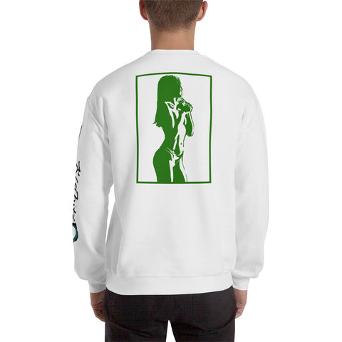 Unisex Sweatshirt 'Sexy Vixen' Green Back Print Design With White And Blue Left Sleeve Logo