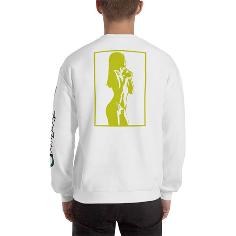 Unisex Sweatshirt 'Sexy Vixen' Yellow Back Print Design With White And Blue Left Sleeve Logo