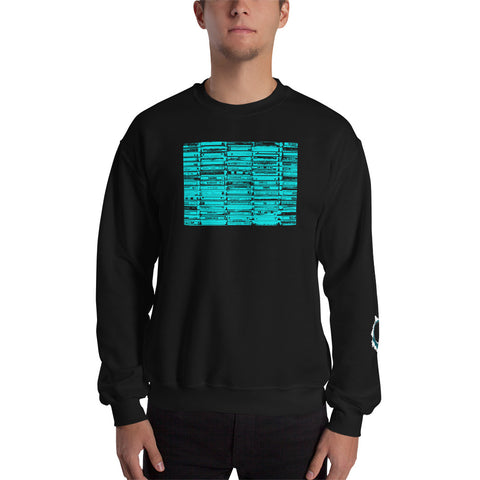 Unisex Sweatshirt 'Vintage Cassette Tapes' Blue Front Print Design With White And Blue Left Sleeve Logo