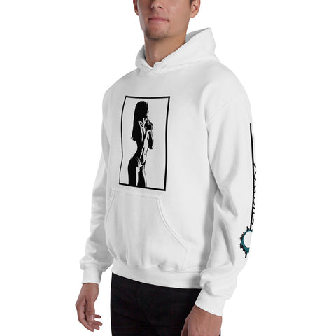 Unisex Hoodie 'Sexy Vixen' Black Front Print Design With Black And Blue Left Sleeve Logo