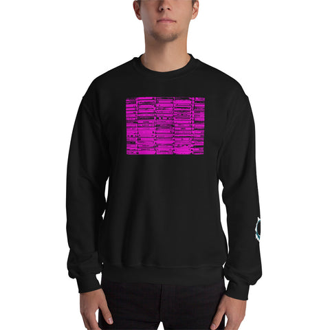 Unisex Sweatshirt 'Vintage Cassette Tapes' Pink Front Print Design With White And Blue Left Sleeve Logo