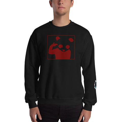 Unisex Sweatshirt 'Bad Panda' Red Front Print Design With White And Blue Left Sleeve Logo