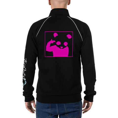 Piped Fleece Jacket 'Bad Panda' Pink Back Print Design With White And Blue Left Sleeve Logo