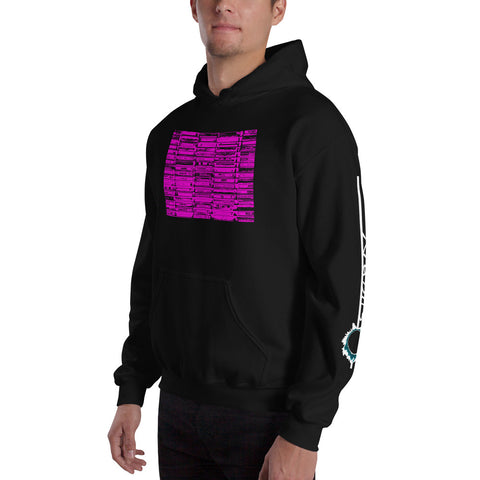 Unisex Hoodie 'Vintage Cassette Tapes' Pink Front Print Design With White And Blue Left Sleeve Logo