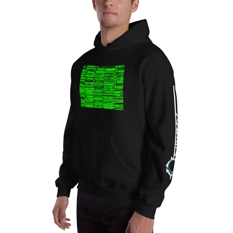 Unisex Hoodie 'Vintage Cassette Tapes' Green Front Print Design With White And Blue Left Sleeve Logo