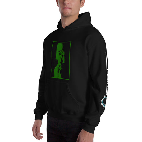 Unisex Hoodie 'Sexy Vixen' Green Front Print Design With White And Blue Left Sleeve Logo
