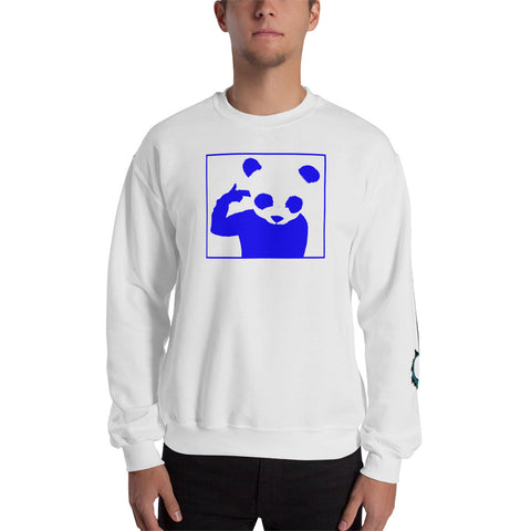 Unisex Sweatshirt 'Bad Panda' Blue Front Print Design With White And Blue Left Sleeve Logo