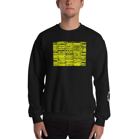 Unisex Sweatshirt 'Vintage Cassette Tapes' Yellow Front Print Design With White And Blue Left Sleeve Logo