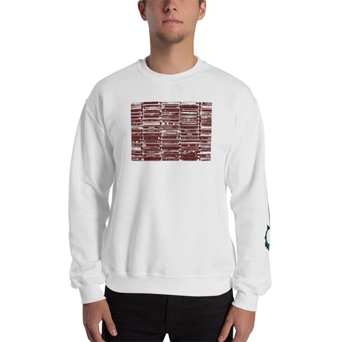 Unisex Sweatshirt 'Vintage Cassette Tapes' Red Front Print Design With White And Blue Left Sleeve Logo
