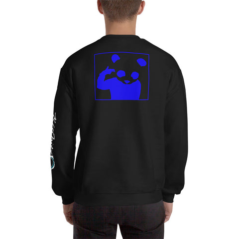 Unisex Sweatshirt 'Bad Panda' Blue Back Print Design With White And Blue Left Sleeve Logo