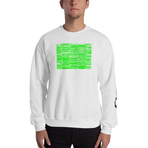 Unisex Sweatshirt 'Vintage Cassette Tapes' Green Front Print Design With White And Blue Left Sleeve Logo