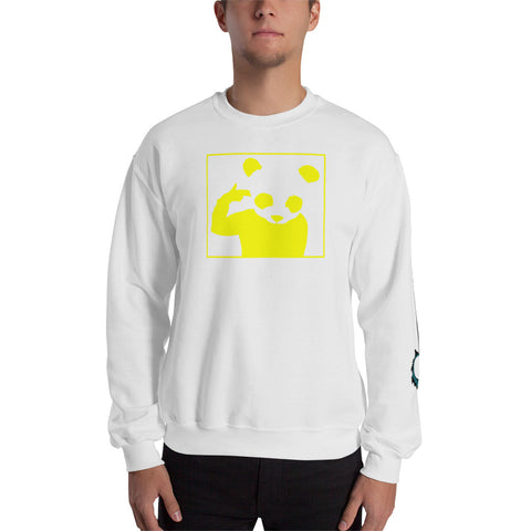 Unisex Sweatshirt 'Bad Panda' Yellow Front Print Design With White And Blue Left Sleeve Logo
