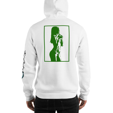 Unisex Hoodie 'Sexy Vixen' Green Back Print Design With White And Blue Left Sleeve Logo