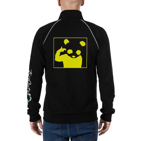 Piped Fleece Jacket 'Bad Panda' Yellow Back Print Design With White And Blue Left Sleeve Logo