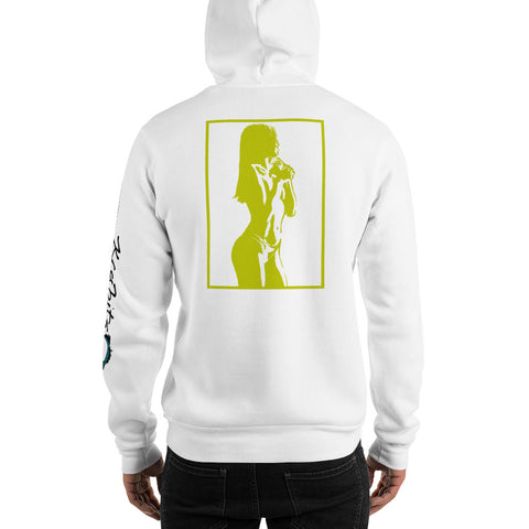 Unisex Hoodie 'Sexy Vixen' Yellow Back Print Design With White And Blue Left Sleeve Logo