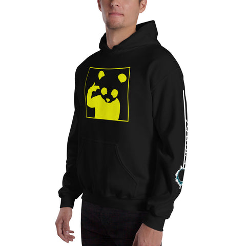 Unisex Hoodie 'Bad Panda' Yellow Front Print Design With White And Blue Left Sleeve Logo