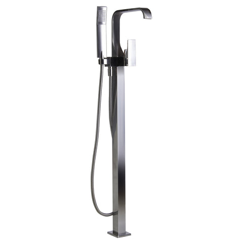 ALFI Floor Mount Tub Filler with Shower Head - Brushed Nickel AB2180-BN