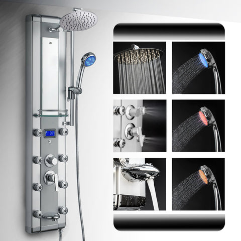 "AKDY 51"" LED Aluminum Rainfall Massage Bath Shower Panel w/ Handheld Shower AZ-5333DK09"