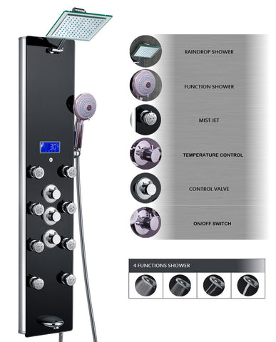 "AKDY 52"" Tempered Glass Shower Panel - Rain Style Thermostatic Control Massage System AZ-788331B"