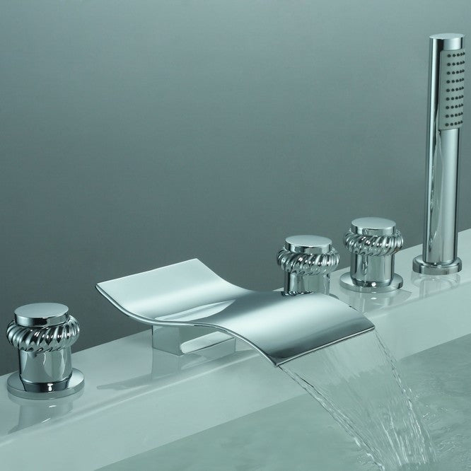 Sumerain | S2025CW | Waterfall Roman Tub Faucet w/ Shower Head ...
