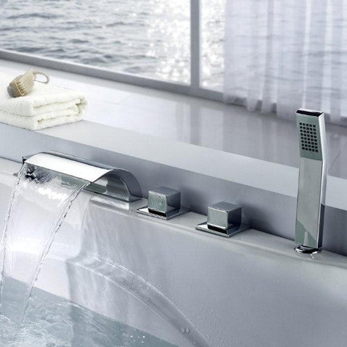 Sumerain | S2053CW | Waterfall Roman Tub Faucet w/ Shower Head ...