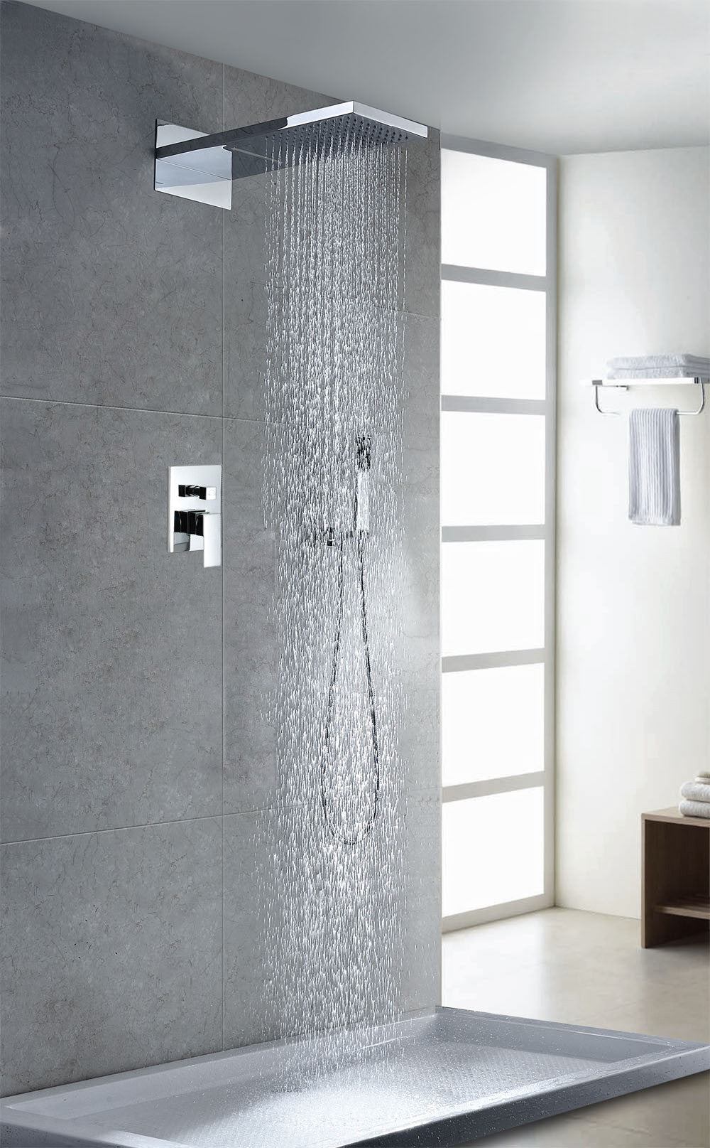 Sumerain Waterfall Shower System | S3047CW – RainShowersDirect.com