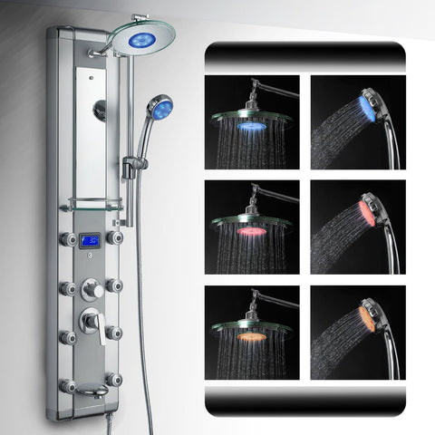 "AKDY 51"" LED Aluminum Shower Panel Rain Style System with 3 Colors LED  AzV5333d"