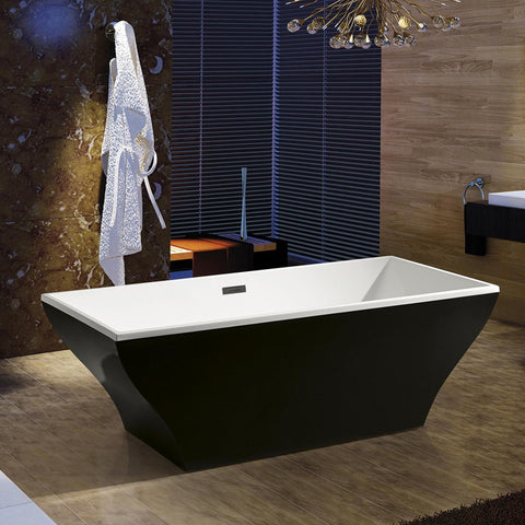 "AKDY 67"" Black Freestanding Soaking Bathtub AZ-F296B"