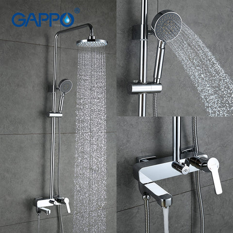 GAPPO Shower Faucets Set Rainfall Shower Head Bathtub Mixer Faucet Tap Bathroom Stainless Shower Adjustable Slide Bar Shower Tap
