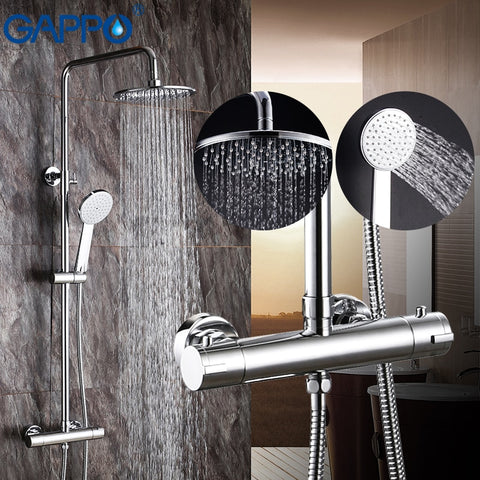 GAPPO shower faucets bathroom thermostatic shower mixer tap waterfall bath shower mixer raninfall shower set wall mounted faucet